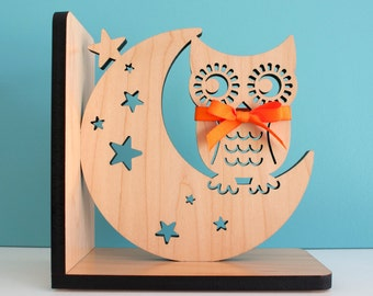 Night Owl Bookend: Wood Modern Baby Nursery Children