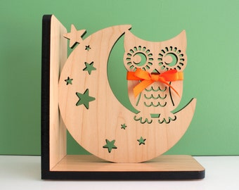 Wood Bookend: Night Owl Modern Baby Nursery Children