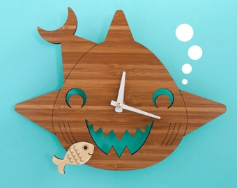 Bamboo Happy Shark Clock Wooden Kids Wall Clock Ocean Nursery Children