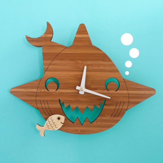 Bamboo Happy Shark Clock: Wooden Kids Wall Clock Ocean Nursery Children