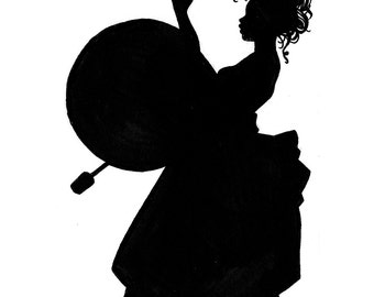Set of four musician silhouette cards
