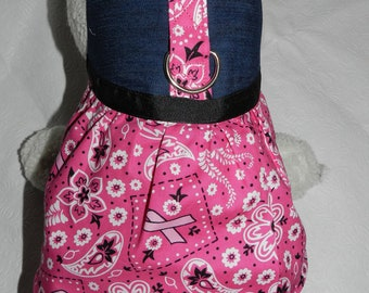 Country BCA Breast Cancer Warrior Pink Ribbon Harness Dress. Perfect Item for your Cat, Dog or Ferret. All Items Are Custom Made.