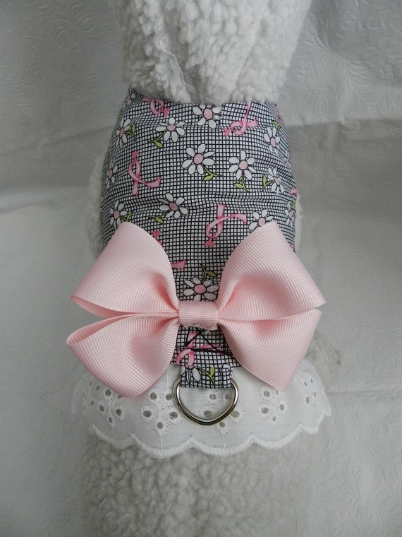 BCA Breast CANCER Awareness PINK Ribbon & Daisy Harness with Bow. Perfect Item for your Cat, Dog or Ferret. All Items are custom.