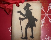 Ebenezer Scrooge Christmas Tags -  - Silhouette - Charles Dickens - Christmas Carol -  Party Favor Tags - Embellishments -  Set of Six