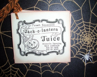 Halloween Tags - Jack-o-lantern Juice Label - Pumpkin  - Set of Six
