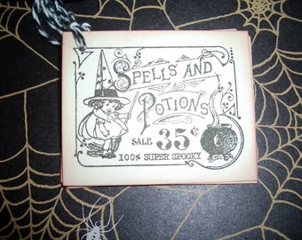 Halloween Tags - Spells and Potions  Label - Little Witch - Vintage Image - Set of Six