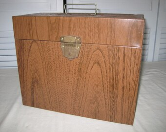 vintage Ballanoff Metal File Box in Faux Bois finish