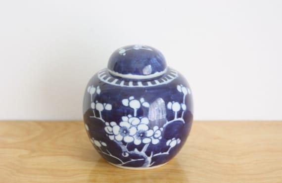 Vintage Porcelain Ginger Jar with Lid