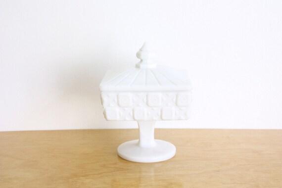 Vintage Milk Glass Pedestal Box by Westmoreland