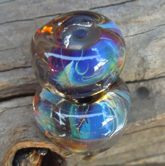 Destash...Handmade lampwork glass beads 2 beads  Organic nugget shape. Silver glass. SRA  Made in Australia