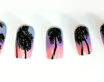Acrylic Nails Tropical Sunset Ombre Palm Tree