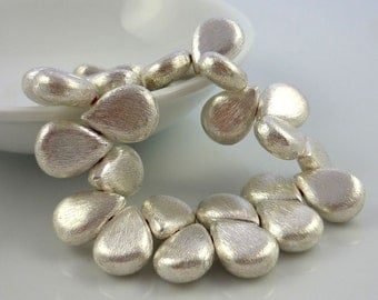 Sterling silver vermeil over brushed copper teardrop beads 16mm x 11mm 1 pair