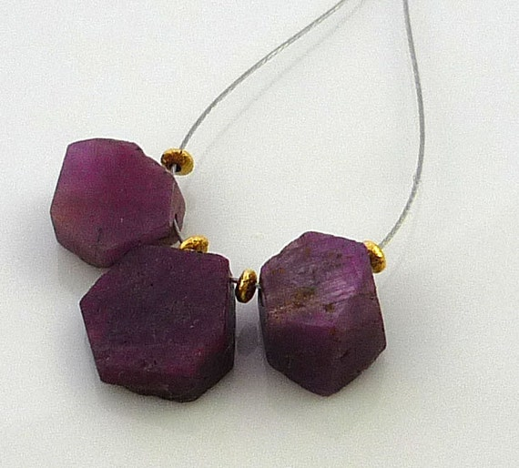 RESERVED For Monica...........Rough ruby natural form hexagon briolette beads 9-12mm