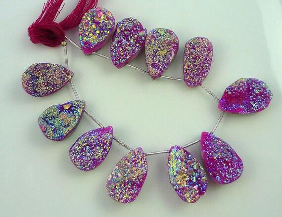 Pink & gold titanium druzy briolette beads 24-25mm 1/4 strand