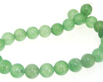 """Charm 26Beads Round Green Rose Jade 8mm Gemstone Beads 7.5"""""""