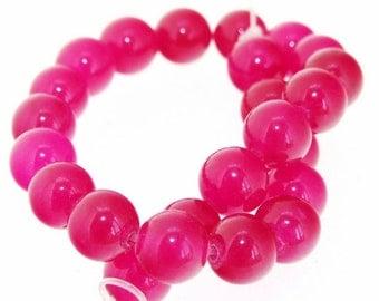 """Charm 24Beads Round fuchsia red Jade 8mm Gemstone Beads 7.5"""""""