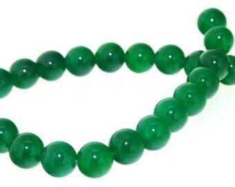 """Charm 24Beads Round Green Jade 8mm Gemstone Beads 7.5"""""""