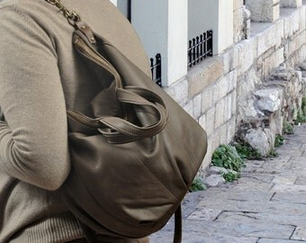 Leather handbag, handmade, in an olive- grey color, named Lina MADE TO ORDER