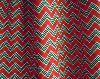 Red and Green Zig Zag Chevron Plaid Vintage Fabric- 2 Plus Yards