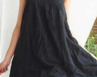 D17, Easy Going Summer Black Cotton Dress, black dress