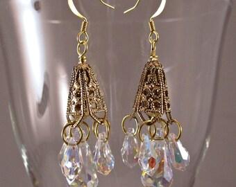Swarovski Crystal & Antique Brass Chandelier Pierced Dangle Earrings Handmade