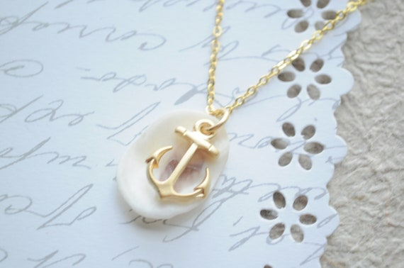 Anchor's Away--  Matte gold anchor and shell necklace