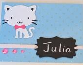 Reusable Birthday Card Girls Birthday Cat Chalkboard Tag