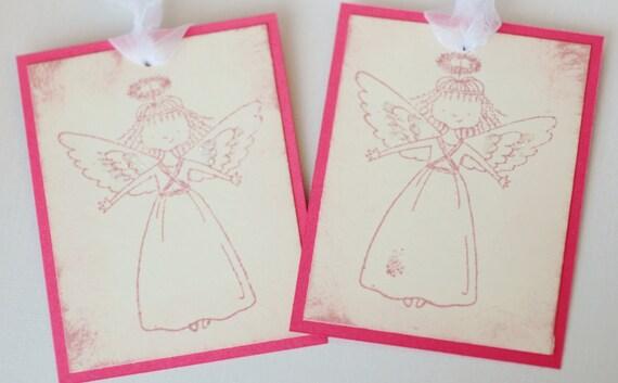 Angel Gift Tags Christmas Pink and Cream Set of 6