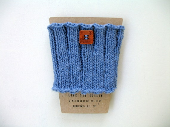 Knit wool latte sleeve coffee cup cozy - MUTED BLUE