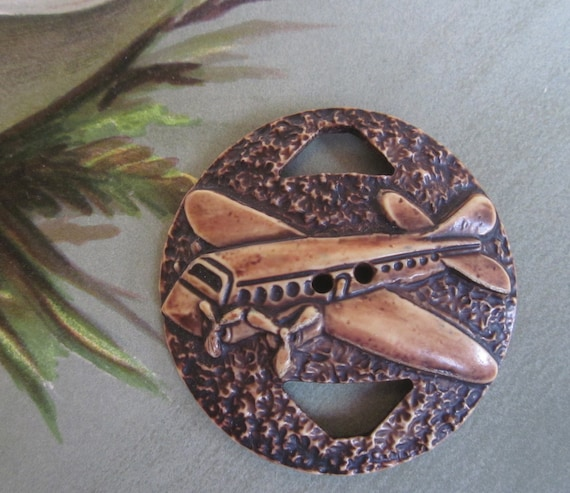 Vintage 1930s Large Celluloid AIRPLANE Button Buckle