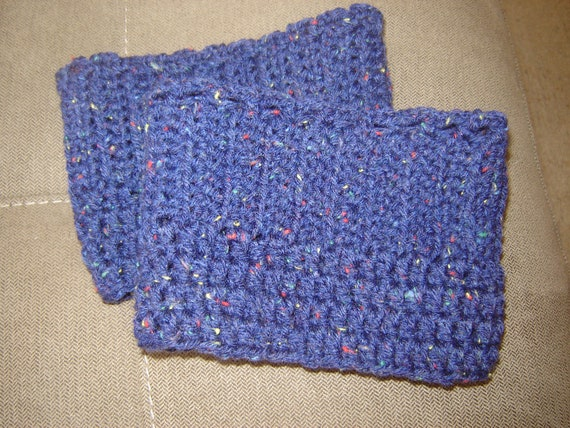 Boot Cuffs- Crocheted Blue with Colored Specks