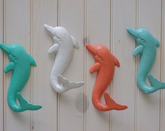 Beach Decor Cast Iron Dolphin Wall Hook - PICK YOUR COLOR