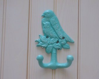 Cottage Chic Cast Iron Mama Bird with Baby Bird Wall Hook - PICK YOUR COLOR
