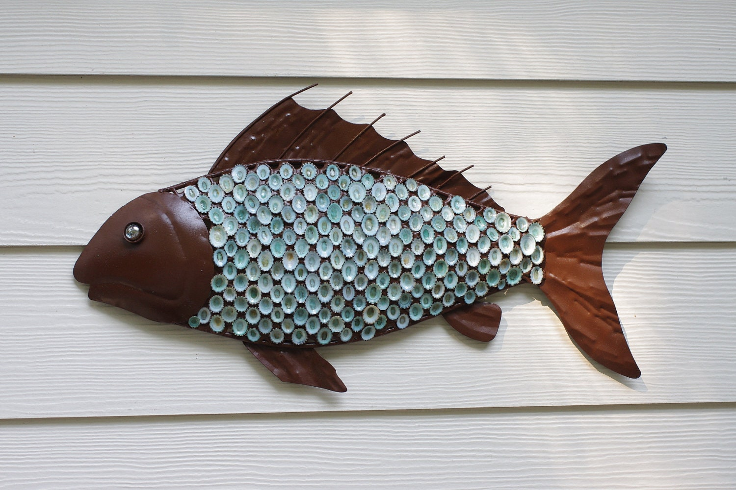 Nautical wall decor metal fish with aqua limpet shell scales for Fish wall decor