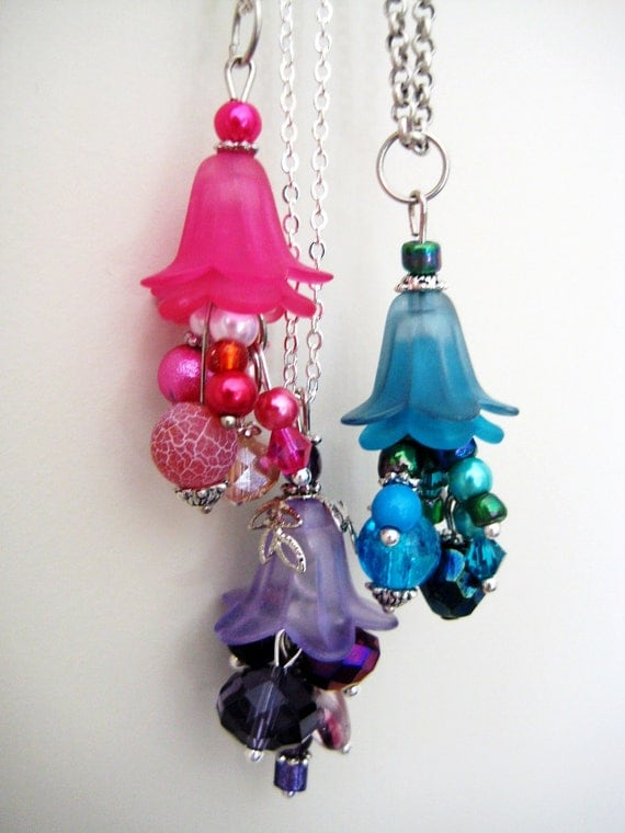 CUSTOM Blossom Cluster Necklaces - Black, Purple, Pink