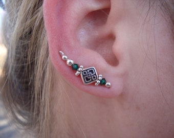 Sterling Silver Diamond Celtic Knot Ear Art Pins with Green Beads