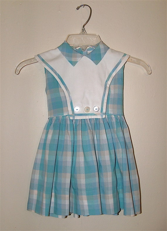 1960s Soft Blues and Tan Plaid Madras Little Girl Day Dress M/L size 5-10 T