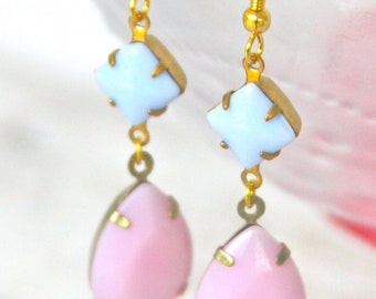 Pink Pear Tear Drop Periwinkle Blue Square Brass Vintage Drop Dangle Earrings - Statement,Bridal, Wedding Dangle Earrings