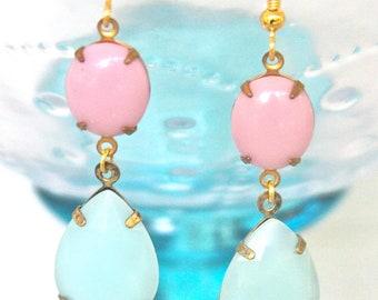 Mint Green Alabaster Pear Teardrop  Pink Oval Glass Drop Dangle Earrings - Statement, Wedding, Bridal,Preppy