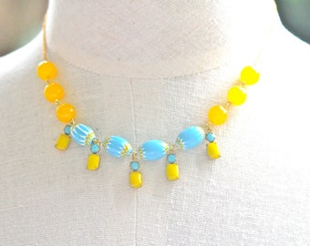Aqua Blue and Yellow Chevron Rectangle Stone Yellow Jade Glass Bead One of a Kind Statement Necklace - Bridal, Boho, Beach