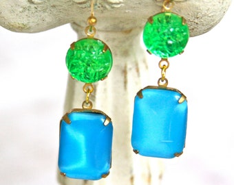 Lime Green Turquoise Vintage Aqua Blue Moonstone Textured Glass Rhinestone Drop Dangle Earrings - Wedding, Holiday, Bridesmaid