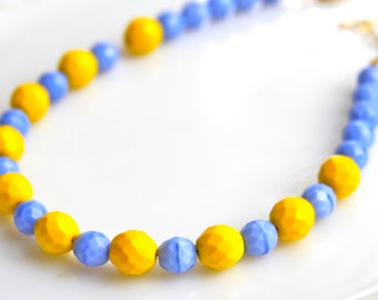 Yellow and Blue Glass Czech Glass Faceted Jade Bead Necklace - Beach, Bridal - Wedding,Bridesmaid,