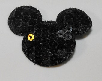 Black, Pink, or Red Sequin Mickey Minnie Mouse Head Hair Clip