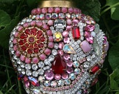Gorgeous Large Vintage Rhinestones Jeweled Heart - Pinks / Red / White / Clear - Juliet's Dream - TREASURY ITEM