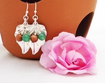 Agate and Goldsand Earrings, Leaf Earrings, Gemstone Earrings, Green and Brown Earrings, UK Seller