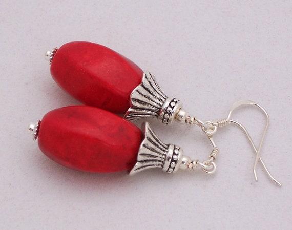 Red Jasper Earrings, Sterling Silver Earrings, Dangle Earrings, Handmade jewelry