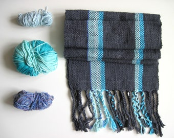 Handwoven Grey and Blue Scarf Cotton and Asymmetrical
