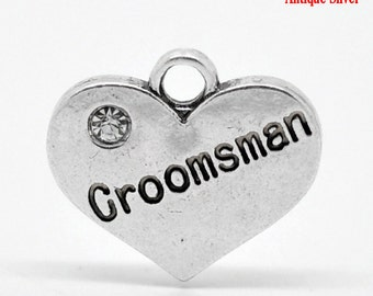 "1 or 2 or 4pcs Antique Silver ""Groomsman"" charm with rhinestone- 16 mm X 14 mm"