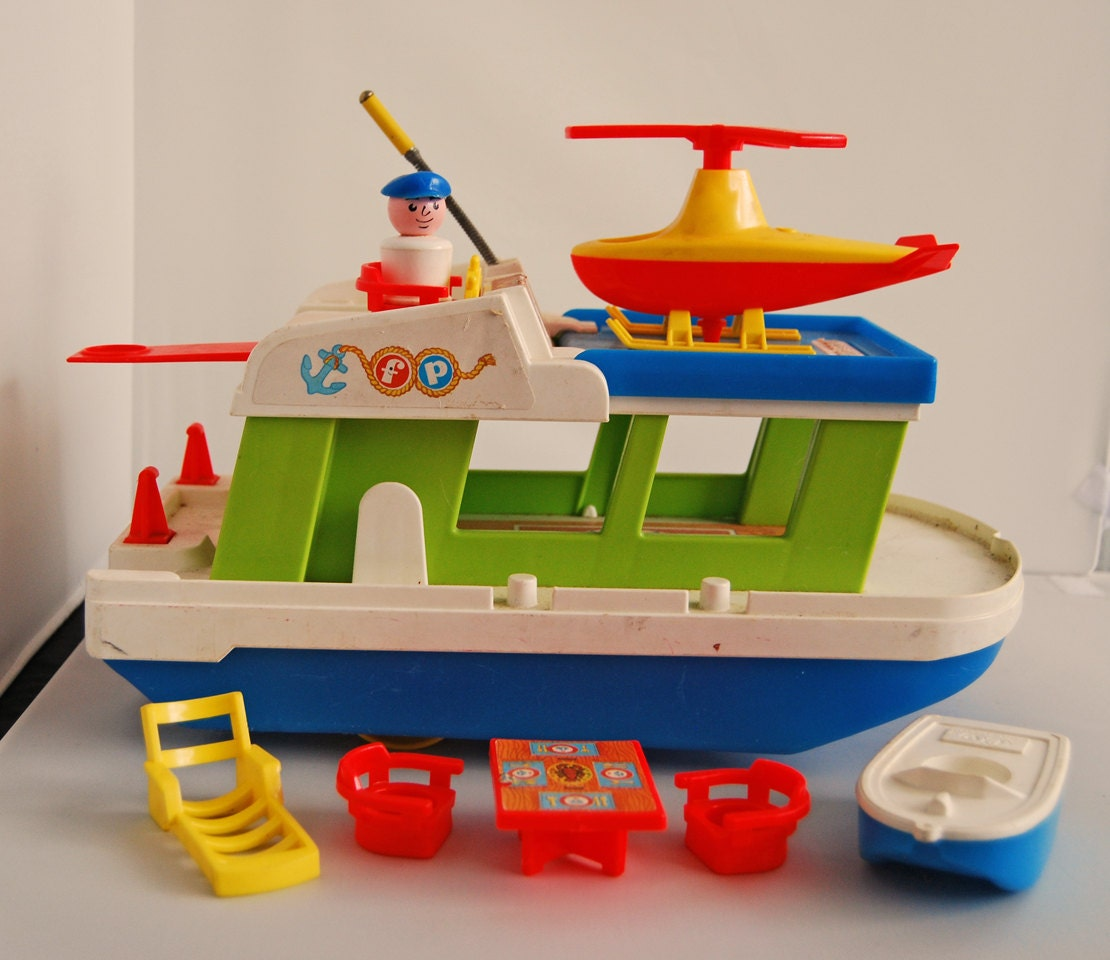 vintage fisher price little people happy houseboat. Black Bedroom Furniture Sets. Home Design Ideas
