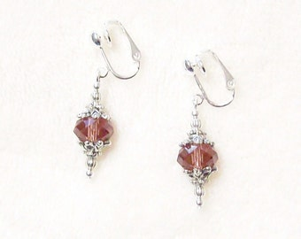 Clip on or Pierced Elegant 10mm Purple Crystal Rondelle Silver Earrings 10 Colors Available